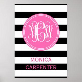 Black White Horiz Stripe #3 Hot Pink Vine Monogram Poster