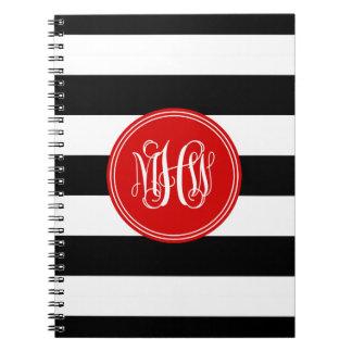 Black White Horiz Stripe #3 Red Vine Monogram Notebook
