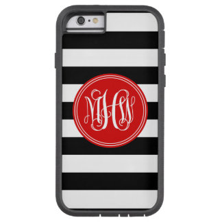 Black White Horiz Stripe #3 Red Vine Monogram Tough Xtreme iPhone 6 Case