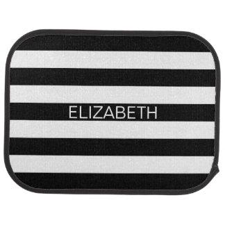 Black White Horizontal Preppy Stripe Name Monogram Car Mat
