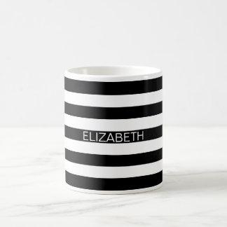 Black White Horizontal Preppy Stripe Name Monogram Coffee Mug