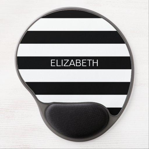 Black White Horizontal Preppy Stripe Name Monogram Gel Mouse Mat