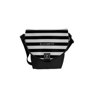 Black White Horizontal Preppy Stripe Name Monogram Messenger Bag