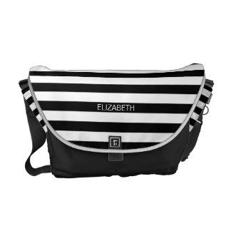 Black White Horizontal Preppy Stripe Name Monogram Messenger Bags