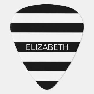 Black White Horizontal Preppy Stripe Name Monogram Plectrum