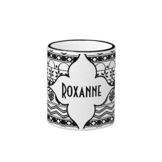 black white horizontal striped pattern with name coffee mug