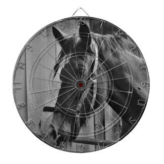 Black White Horse - Animal Photography Art Dartboard