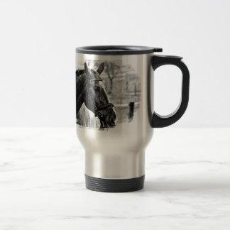 Black White Horse Sketch Travel Mug