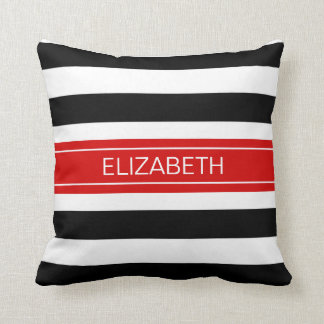 Black White Horz Preppy Stripe Red Name Monogram Cushion