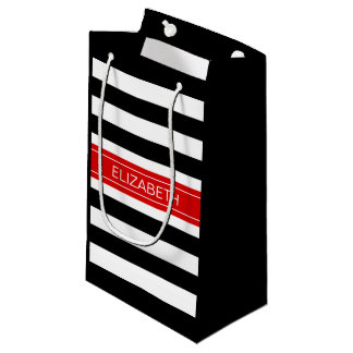 Black White Horz Preppy Stripe Red Name Monogram Small Gift Bag