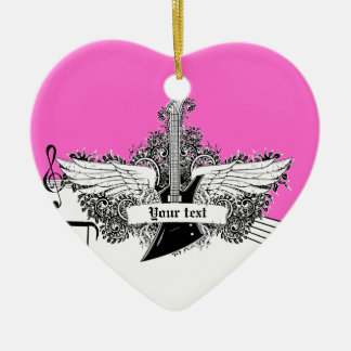 Black white hot pink electric guitar with wings ceramic heart decoration