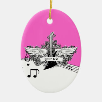 Black white hot pink electric guitar with wings ceramic oval decoration