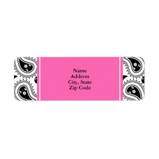 Black, White, Hot Pink Paisley Pattern Return Address Label