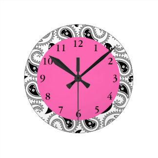 Black, White, Hot Pink Paisley Pattern Round Clock