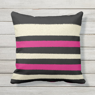 Black White Hot Pink Stripes Cool Simple Pattern Cushion