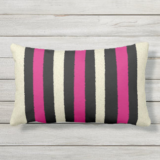 Black White Hot Pink Stripes Cool Simple Pattern Lumbar Cushion