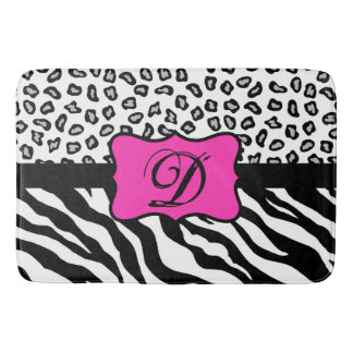Black White Hot Pink Zebra Leopard Skin Monogram Bath Mat