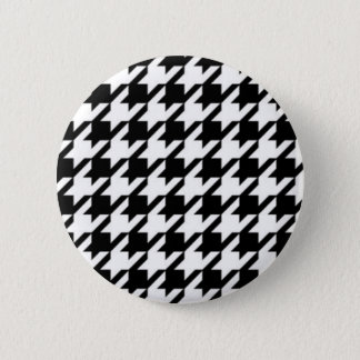 Black & White Hounds Tooth Stud Earrings Button