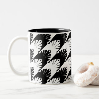 Black & White Hounds-Tooth Two-Tone Coffee Mug