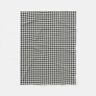 Black/White houndsdogtooth Pattern Fleece Blanket