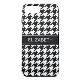 Black White Houndstooth #2 Black Name Monogram iPhone 8 Plus/7 Plus Case