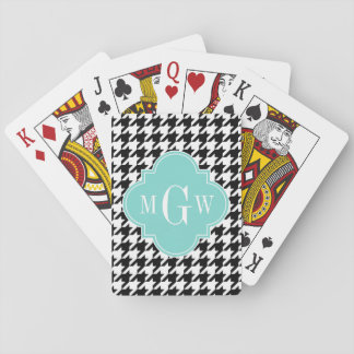 Black White Houndstooth Aqua Quatrefoil Monogram Playing Cards