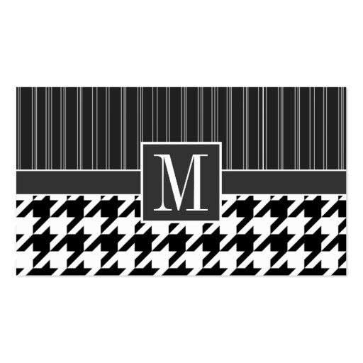 Black & White Houndstooth Business Card Template