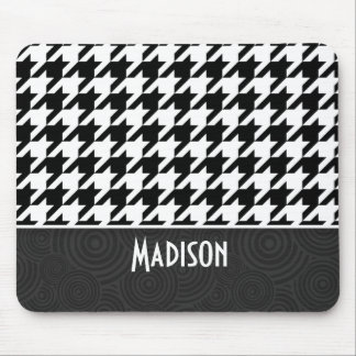 Black & White Houndstooth Mouse Pad
