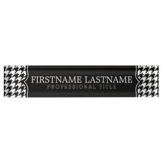 Black White Houndstooth Pattern Custom Name Title Nameplates