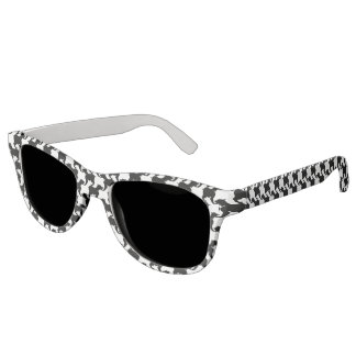 Black White Houndstooth Pattern Sun Glasses