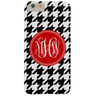 Black White Houndstooth Red 3 Init Vine Monogram Barely There iPhone 6 Plus Case