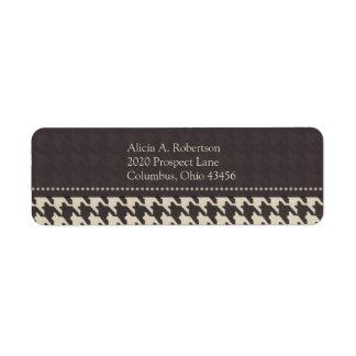Black/White Houndstooth Return Address Label