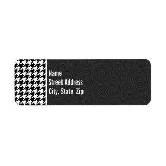 Black & White Houndstooth Return Address Label
