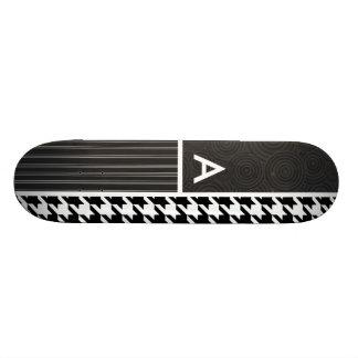 Black & White Houndstooth Custom Skate Board