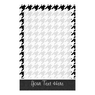 Black White Houndstooth Stationery Design