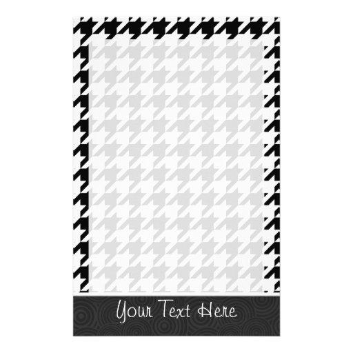 Black & White Houndstooth Stationery Design