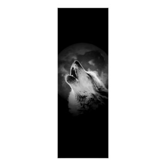Black & White Howling Wolf & Moon Poster