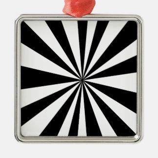 Black White hypnotic Silver-Colored Square Decoration