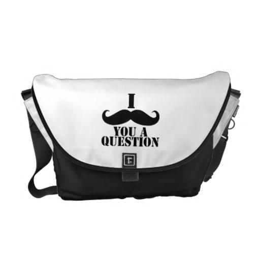 Black White I Moustache You A Question Humor Commuter Bags