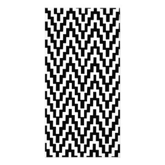 Black White Ikat Chevron Zig Zag Stripes Pattern Custom Photo Card