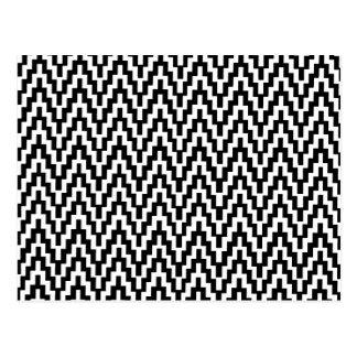 Black White Ikat Chevron Zig Zag Stripes Pattern Postcard