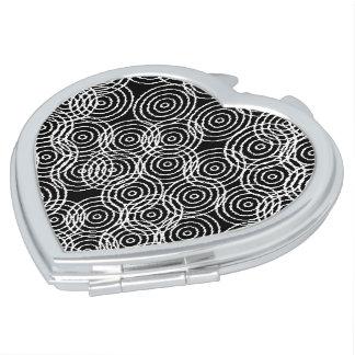 Black White Ikat Overlap Circles Geometric Pattern Mirror For Makeup