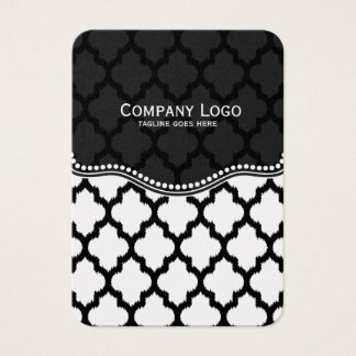 Black & White Ikat Quatrefoil Modern Pattern Business Card