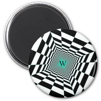 Black White Illusion 6 Cm Round Magnet