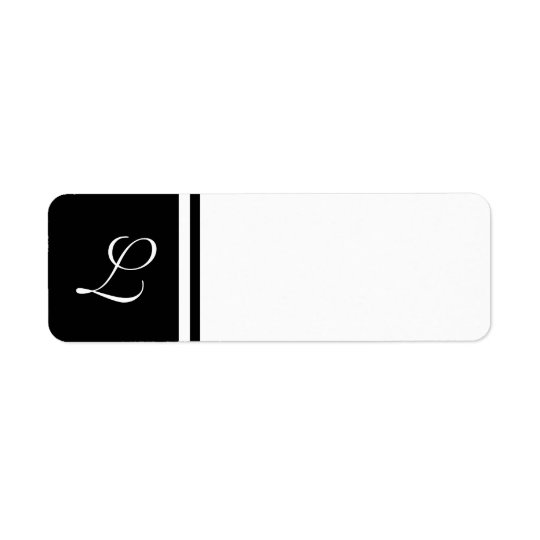 Black White Initial Label- Customisable Background Return Address Label