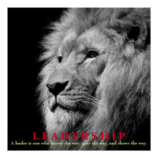 Black & White Inspirational Leadership Lion Square Poster