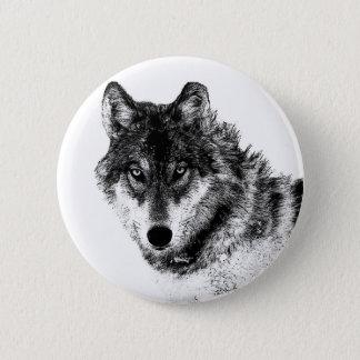 Black White Inspirational Wolf Eyes 6 Cm Round Badge