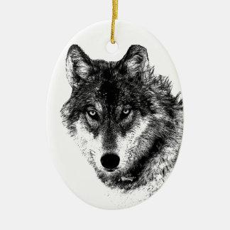 Black White Inspirational Wolf Eyes Ceramic Oval Decoration