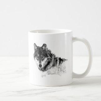Black White Inspirational Wolf Eyes Coffee Mug