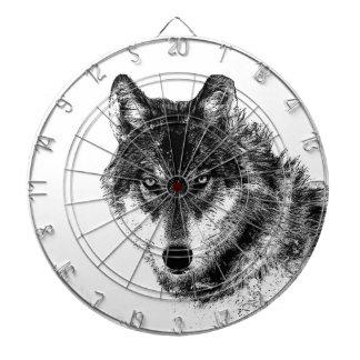 Black White Inspirational Wolf Eyes Dartboard